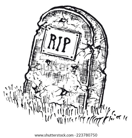 Hand drawn isolated tombstone/ Illustration of hand drawn isolated tombstone with rip inscription