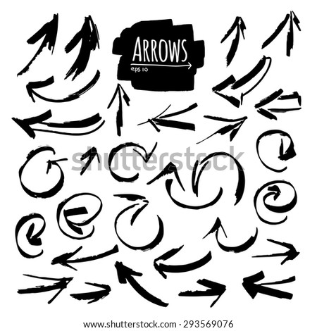 Hand drawn isolated vector arrow collection #293569076