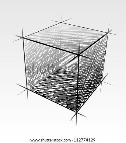 Hand drawn isolated vector cube