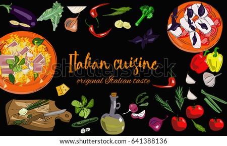 hand drawn italian cuisine