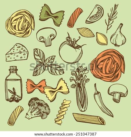 Hand drawn Italian pasta set. Colorful pasta, cheese, broccoli, garlic, chili pepper, rosemary, celery, olive oil, basil, champignon, tomato