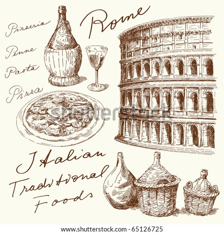 hand drawn italian set