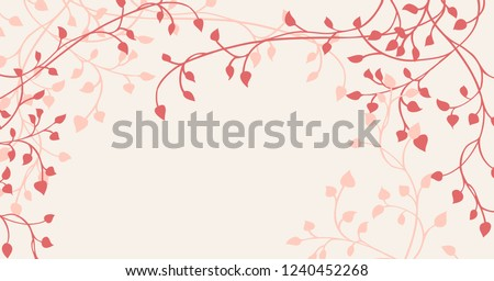 Hand Drawn Ivy And Vines In Pink Red On A Pale Yellow Background