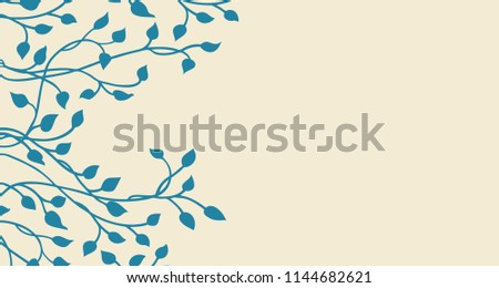 Hand Drawn Ivy And Vines In Yellow On A Blue Background Pretty Outline Of