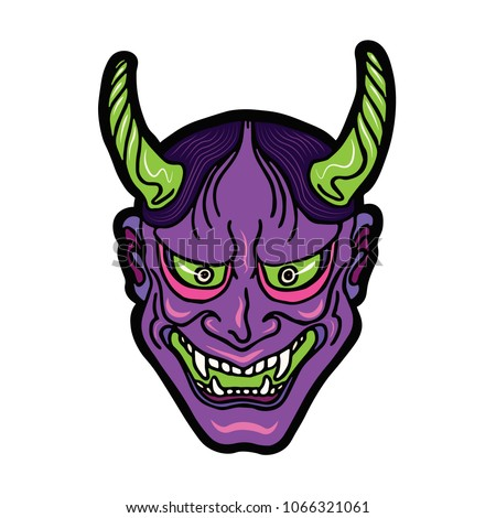 Stock Photo Hand drawn Japanese hannya demon neon purple and green theatre betrayed woman mask with eyes and mouth wide open, sharp teeth and dark hair. Vector isolated illustration on a light background.
