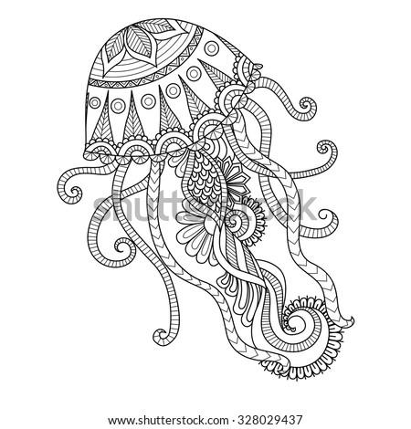 hand drawn jellyfish zentangle