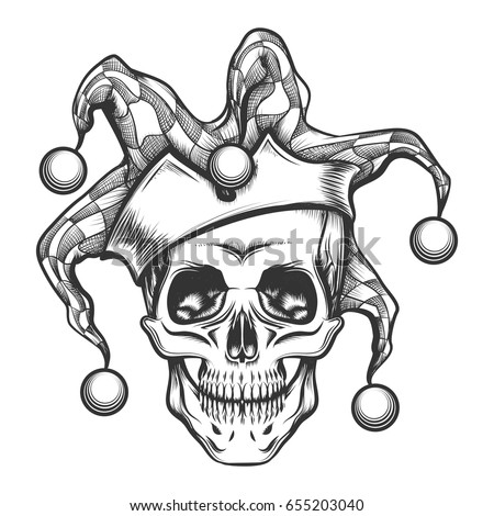 hand drawn jester skull in