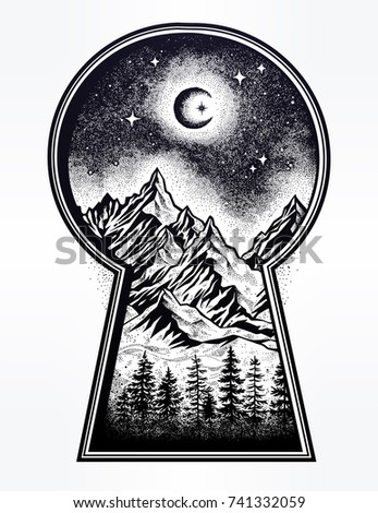 Hand drawn keyhole with vintage nature pine forest mountain landscape, beautiful moon, sky. Isolated vintage vector illustration. Invitation. Magic outdoors. Tattoo, travel, adventure, retro symbol.