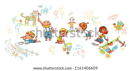 Hand-drawn kids doodle. Children of different nationality draw pictures on walls and floor. Panorama for your design. Funny cartoon character. Vector illustration. Isolated on white background