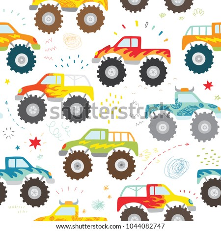 hand drawn kids doodle monster truck seamless pattern