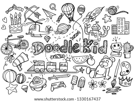 hand-drawn kids doodle set,Doodle style.-Vector Illustration