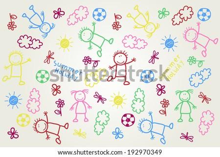 hand drawn kids pattern