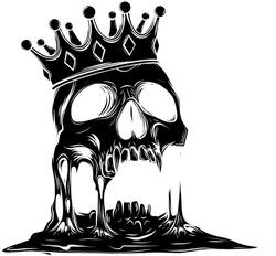 Hand drawn king skull wearing crown. Vector illustration black silhouette