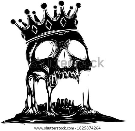 Hand drawn king skull wearing crown. Vector illustration black silhouette Stock photo ©