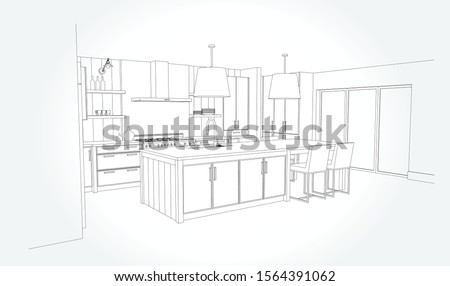 Hand drawn kitchen furniture. Vector illustration in sketch style. vector illustration kitchen furniture and equipment.  Foto stock ©