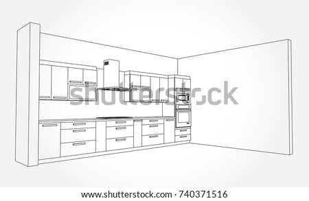 hand drawn kitchen furniture