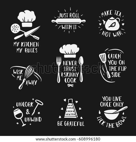 hand drawn kitchen posters set