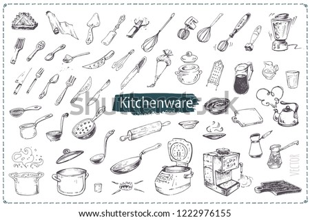 Hand drawn kitchen utencils. Set of kitchenware sketch vector icons isolated on white background. Vintage doodles for design restaurant menus and decorating cookbooks and recipes