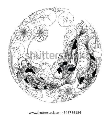 hand drawn koi fish in circle
