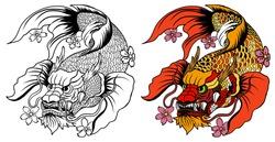 hand drawn koi fish in Dragon head, Japanese carp line drawing coloring book vector image