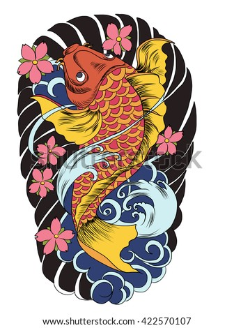 hand drawn koi fish tattoo.Japanese Koi carp with lotus flower and water splash tattoo.