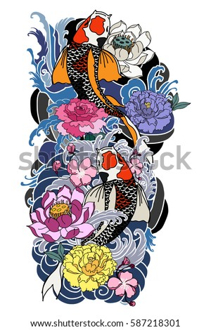 hand drawn koi fish with flower tattoo for Arm, Japanese carp line drawing coloring book vector image