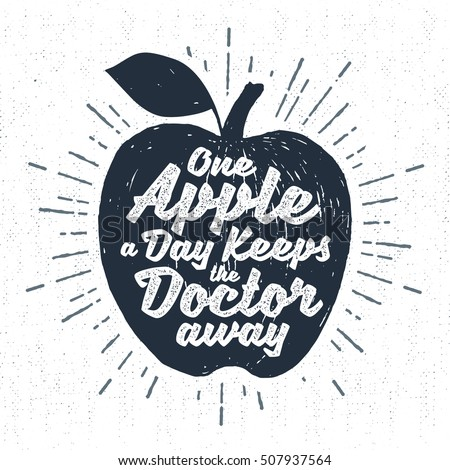 Hand drawn label with textured apple vector illustration and