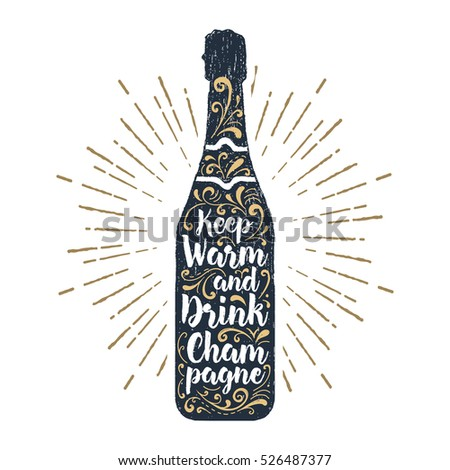 Hand drawn label with textured champagne bottle vector illustration and