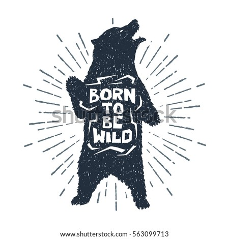 Hand drawn label with textured grizzly bear vector illustration and