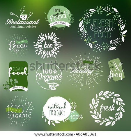 Hand drawn labels and elements collection for organic food and drink, natural products, restaurant, healthy food market and production, on the nature background. Vector illustrations.