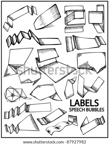 Hand drawn labels and speech bubbles. Vector set of design elements