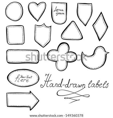 Hand-drawn labels set