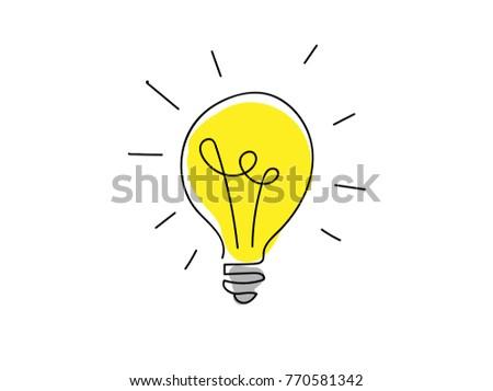 Hand drawn lamp sign. Idea vector symbol.