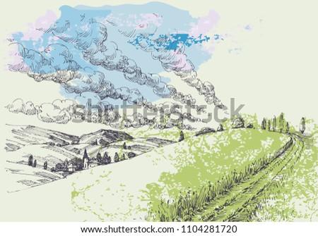 hand drawn landscape green