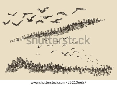 hand drawn landscape with