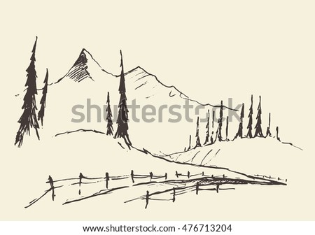 hand drawn landscape with hills