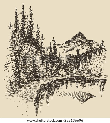 hand drawn landscape with lake