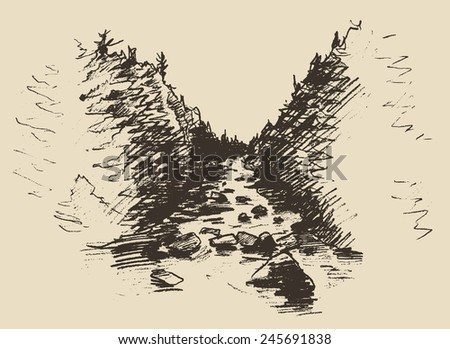 hand drawn landscape with river
