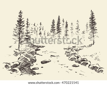 hand drawn landscape with river ...