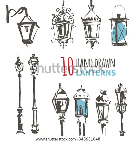 hand drawn lantern set ink