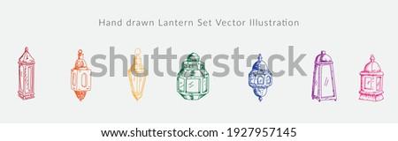 Hand drawn Lantern Set Vector Illustration Foto stock ©