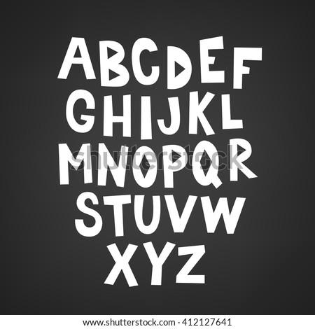 hand drawn latin alphabet a  b