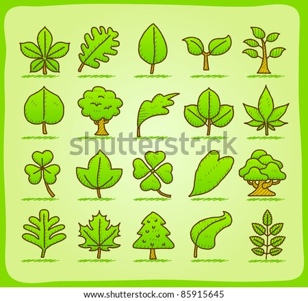 hand drawn leaf ,tree,eco icons