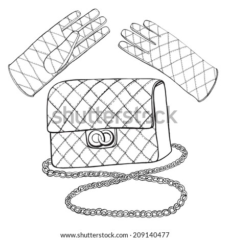 Hand drawn leather classic flap bag and gloves.