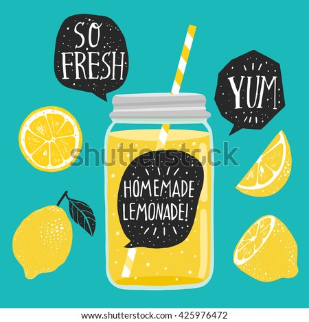 Hand drawn lemon, lemon slice, jar with lemonade, speech bubbles with handwritten lettering