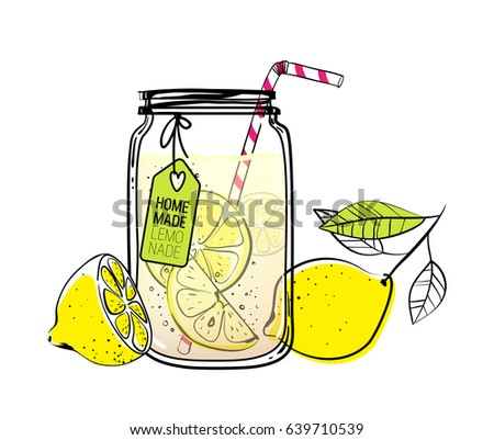 Hand drawn lemon, lemon slice, straw and a tag for your text,  glass jar with lemonade, a sketch of homemade lemonade, summer vector illustration