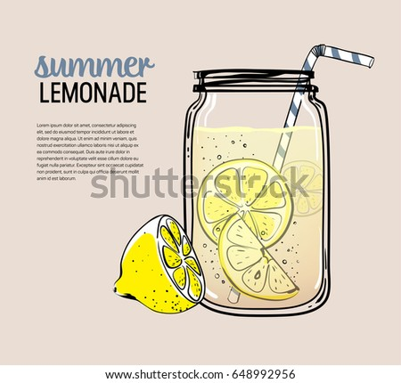 Hand drawn lemon, lemon slice, straw with place for your text,  glass jar with lemonade, a sketch of homemade lemonade, summer vector illustration, template