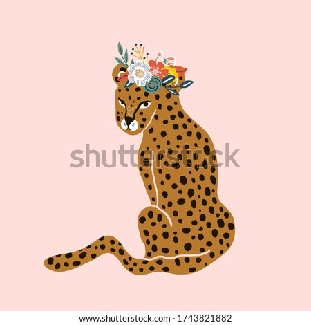 Hand drawn leopard in with floral wreath on head, pink background. Trendy Jungle print. Cartoon vector summer illustration