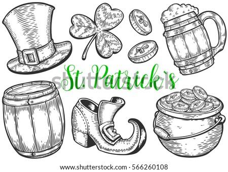 Hand drawn leprechaun hat, clover, beer mug, barrel, boot, golden coin pot sketch set for St. Patrick's Day. Irish festival retro vintage decoration. Vector vintage hand drawn saint Patrick day.