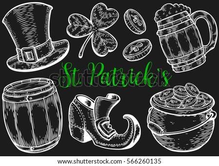 c00c32c9 Hand drawn illustrations. Hand drawn leprechaun hat, clover, beer mug,  barrel, boot, golden coin